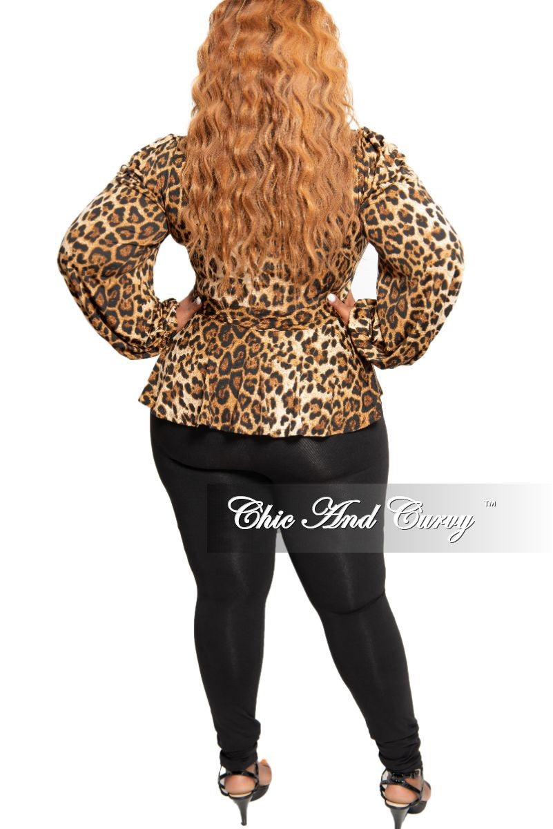 New Plus Size Peplum Tie Top in Animal Print