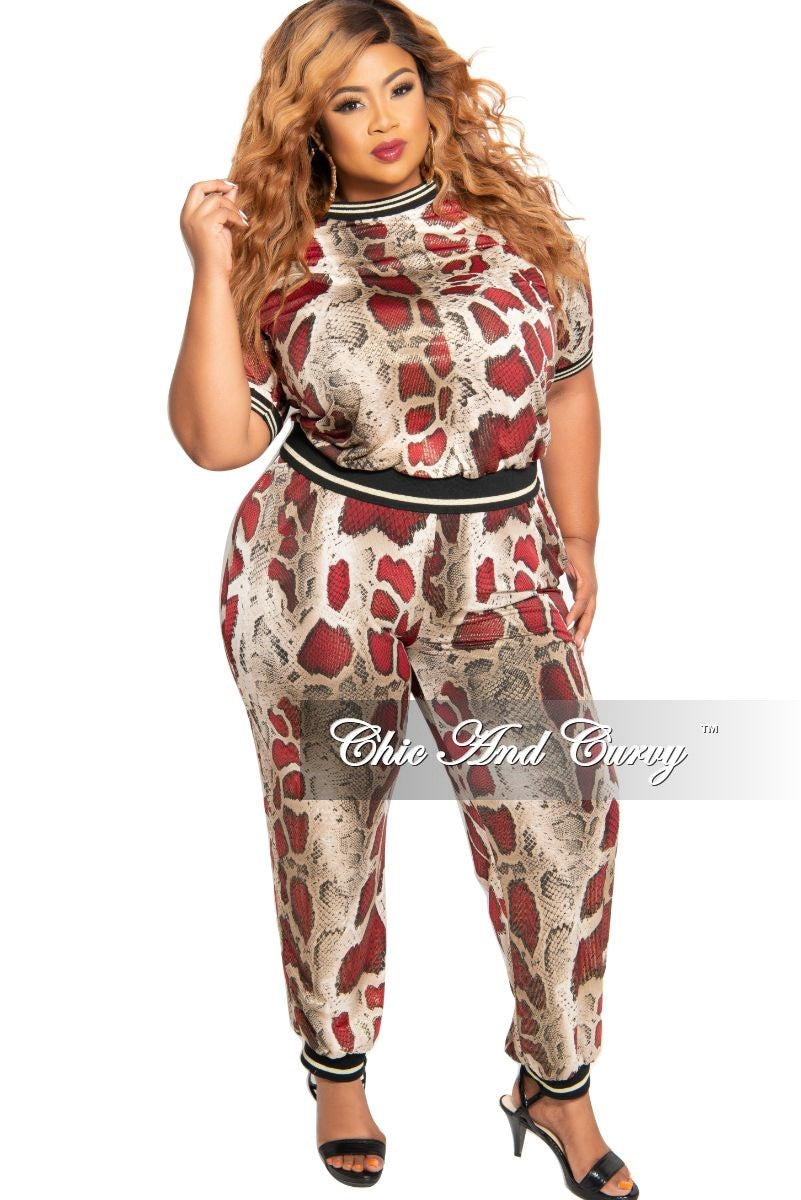 New Plus Size 2-Piece Foil Sporty Top and Pants Set in Burgundy Snake Print