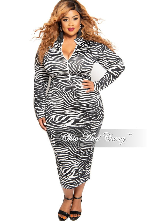 Final Sale Plus Size 2-Piece Zip-Up Bodysuit and Pencil Skirt Set in Black and White Zebra Print