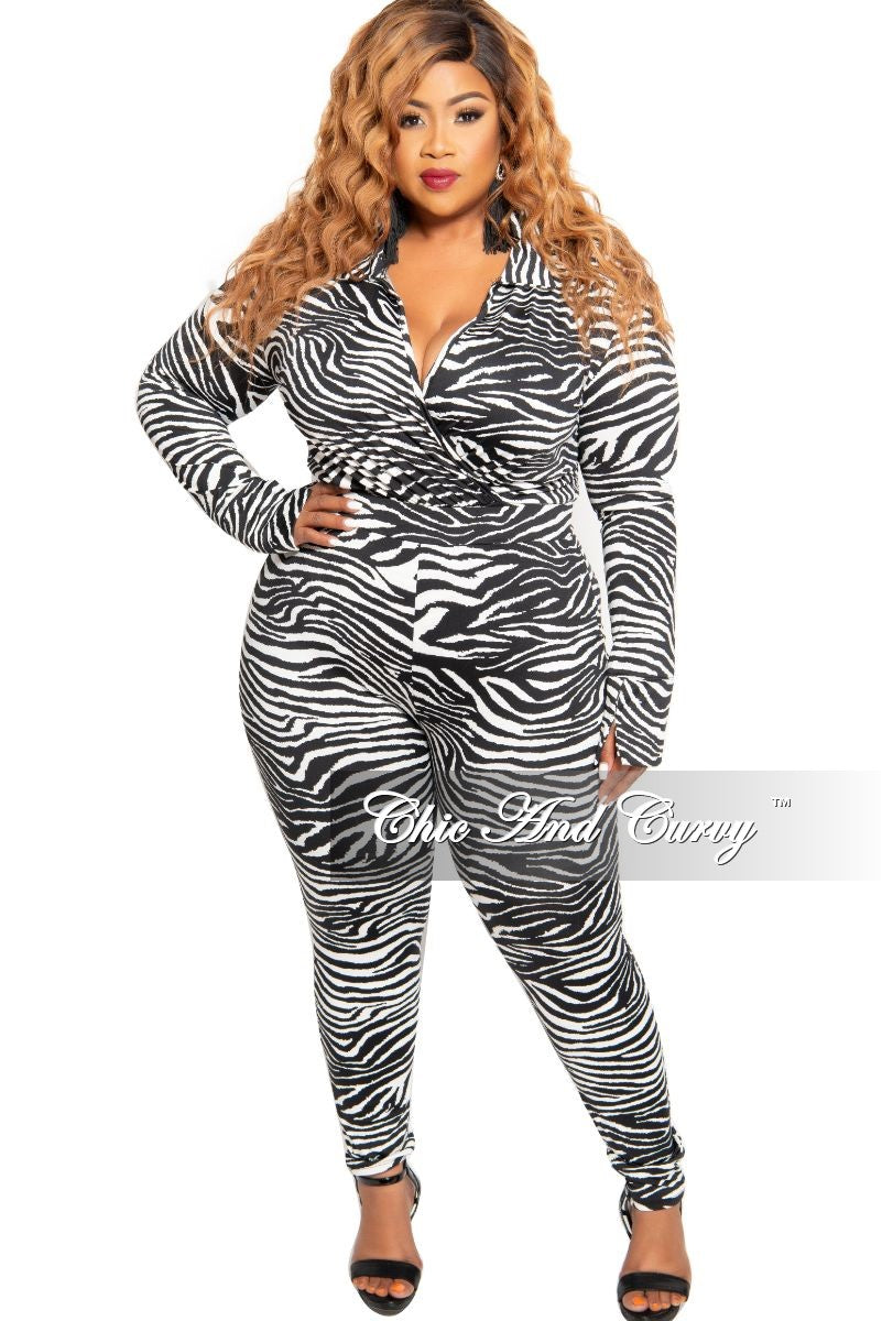 Final Sale Plus Size 2-Piece Collared Faux Wrap Bodysuit and Pants Set in Black and White Zebra Print