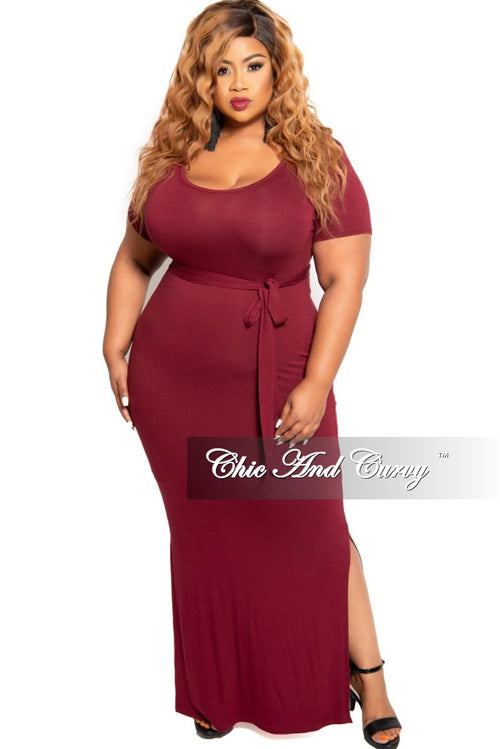 Final Sale Plus Size Tie Maxi Dress with Side Slits in Burgundy