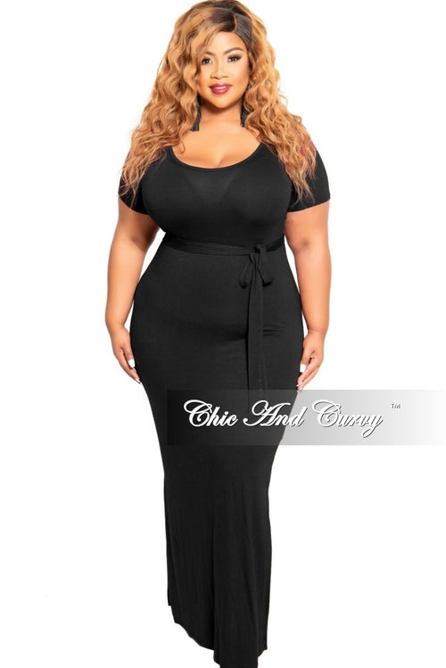Final Sale Plus Size Tie Maxi Dress with Side Slits in Black