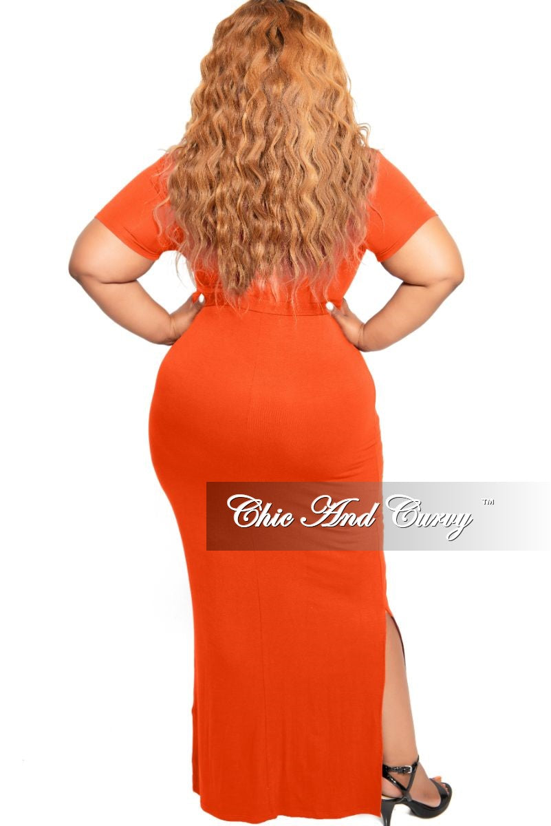 Final Sale Plus Size Tie Maxi Dress with Side Slits in Burnt Orange