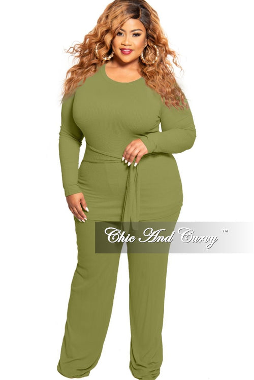 New Plus Size 2-Piece Long Sleeve Ribbed Tie Top and Pants Set in Olive