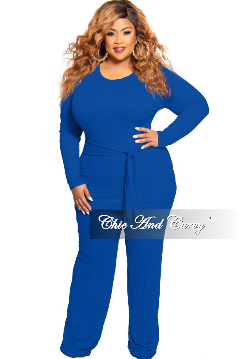 New Plus Size 2-Piece Long Sleeve Ribbed Tie Top and Pants Set in Royal Blue