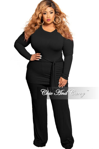 Final Sale Plus Size 2-Piece Satin Collared Faux Wrap Bodysuit and Pants Set in Red