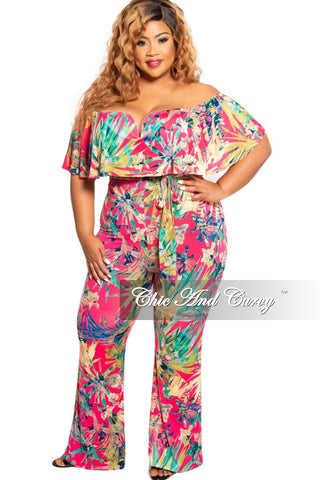 Final Sale Plus Size Faux Wrap Jumpsuit with High Side Slits in Fuchsia/Mustard Multicolor Leaf Print