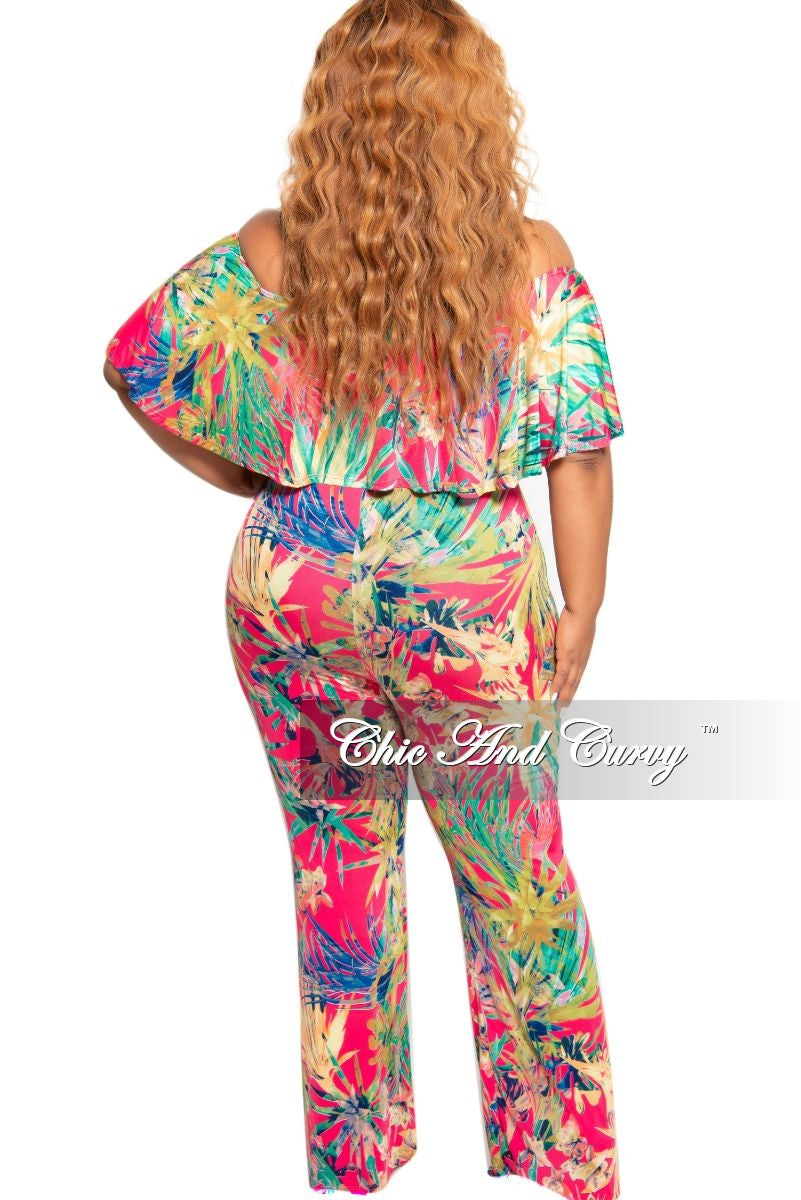 New Plus Size Deep V Ruffle Jumpsuit in Hot Pink Multi Color Floral Print