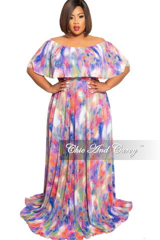 Final Sale Plus Size Faux Wrap Chiffon Maxi with Tie in Multi Color Snake Print