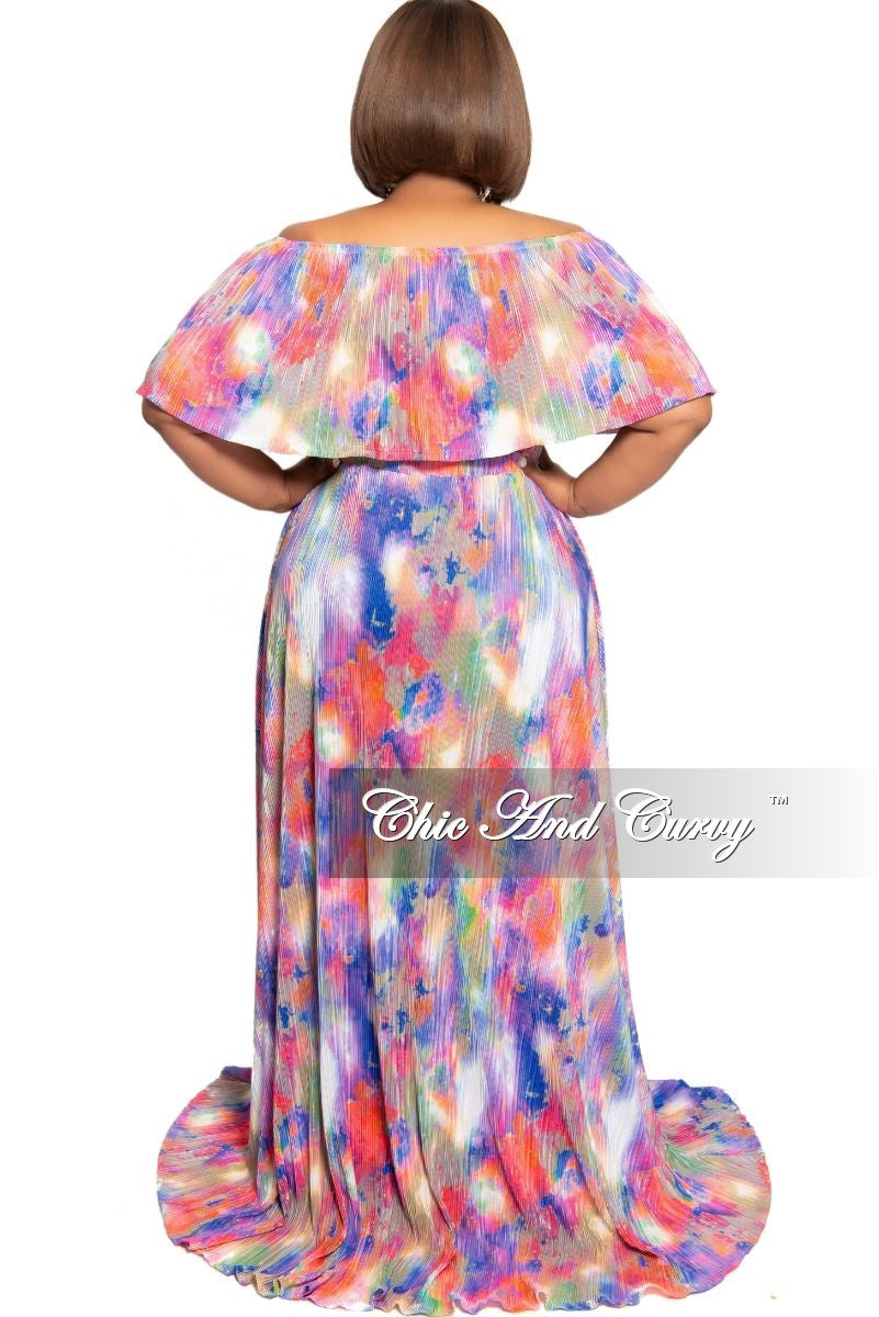 New Plus Size Off the Shoulder Ruffle Overlay Pleated Peasant Maxi in Multi Color Print