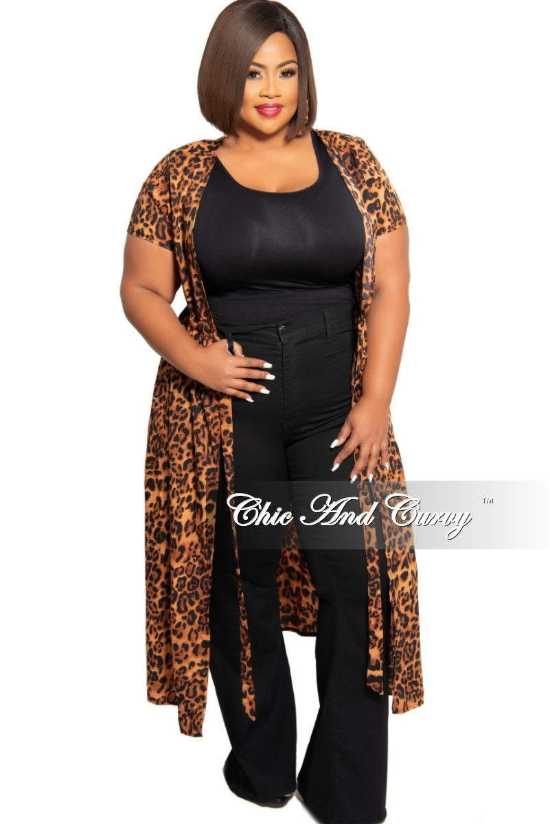 New Plus Size Tie Duster in Animal Print