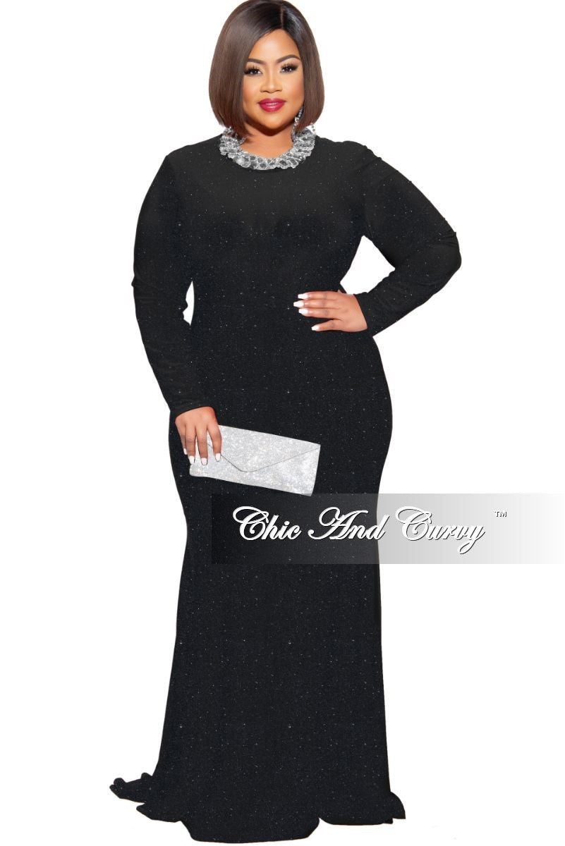 Final Sale Plus Size Shimmer Mermaid Gown in Black