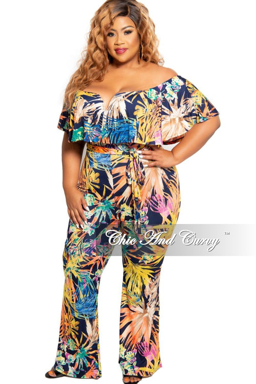 New Plus Size Deep V Ruffle Jumpsuit in Navy Multi Color Floral Print