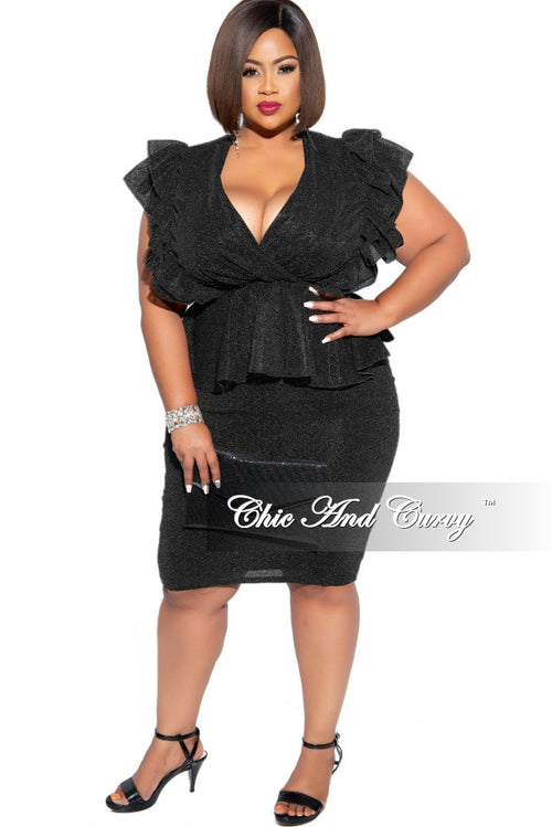 Final Sale Plus Size 2-Piece Lurex Sheer Faux Wrap Ruffle Peplum Top and Pencil Skirt Set in Black