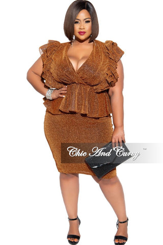 Final Sale Plus Size Shimmer Sleeveless Faux Wrap Ruffle Bottom BodyCon Dress in Red
