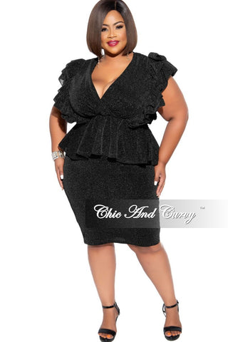 New Plus Size Sleeveless High-Low Peplum Top with Side Tie in Black