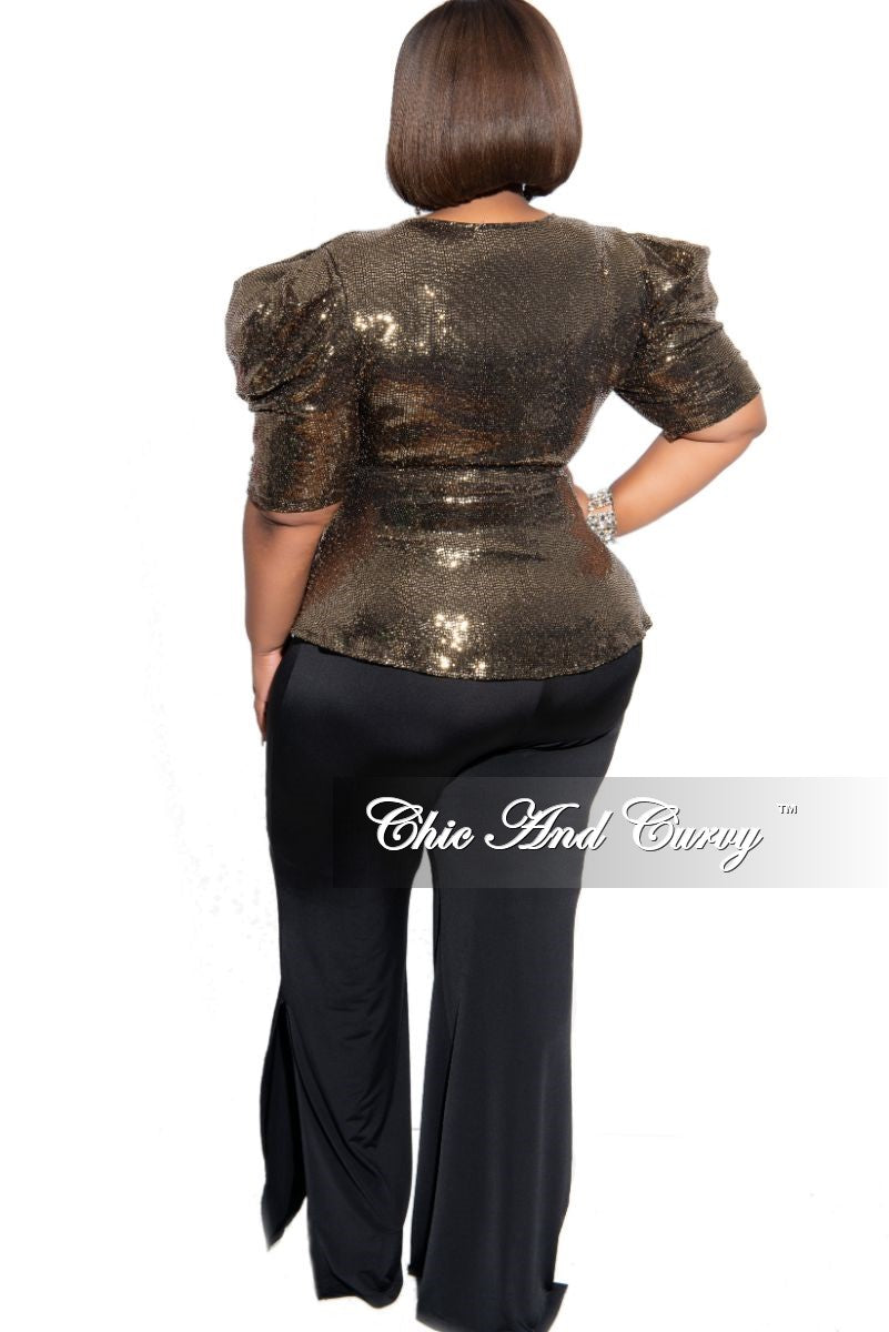 Final Sale Plus Size Flare Pants with Bottom Slits in Black