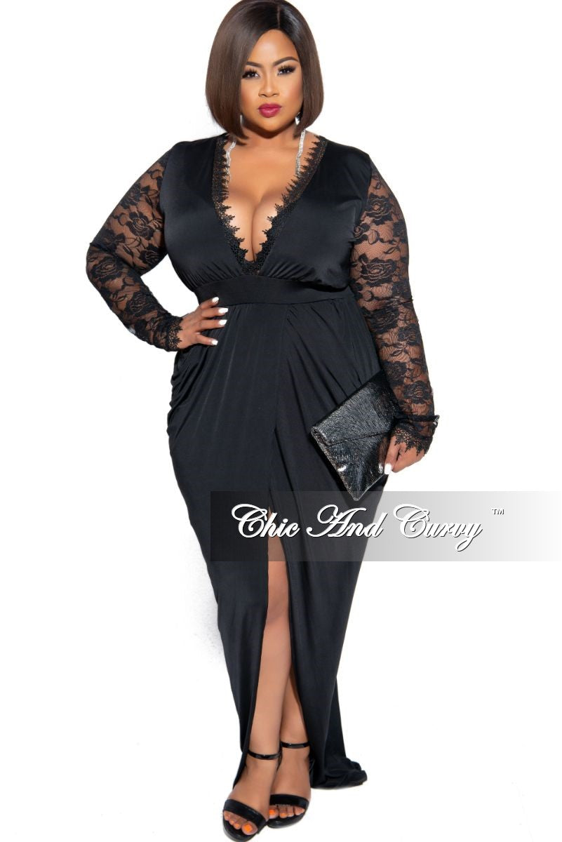 Final Sale Plus Size Scalloped Neckline Harem Gown with Lace Sleeves in Black