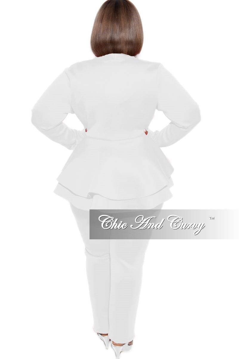 Final Sale Plus Size 2-Piece Deep V Tulip Blazer and Pants Set in White