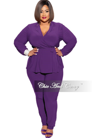 New Plus Size Shimmer Stripe 2-Piece Long Sleeve Top and Pants Set in Purple Multi Color