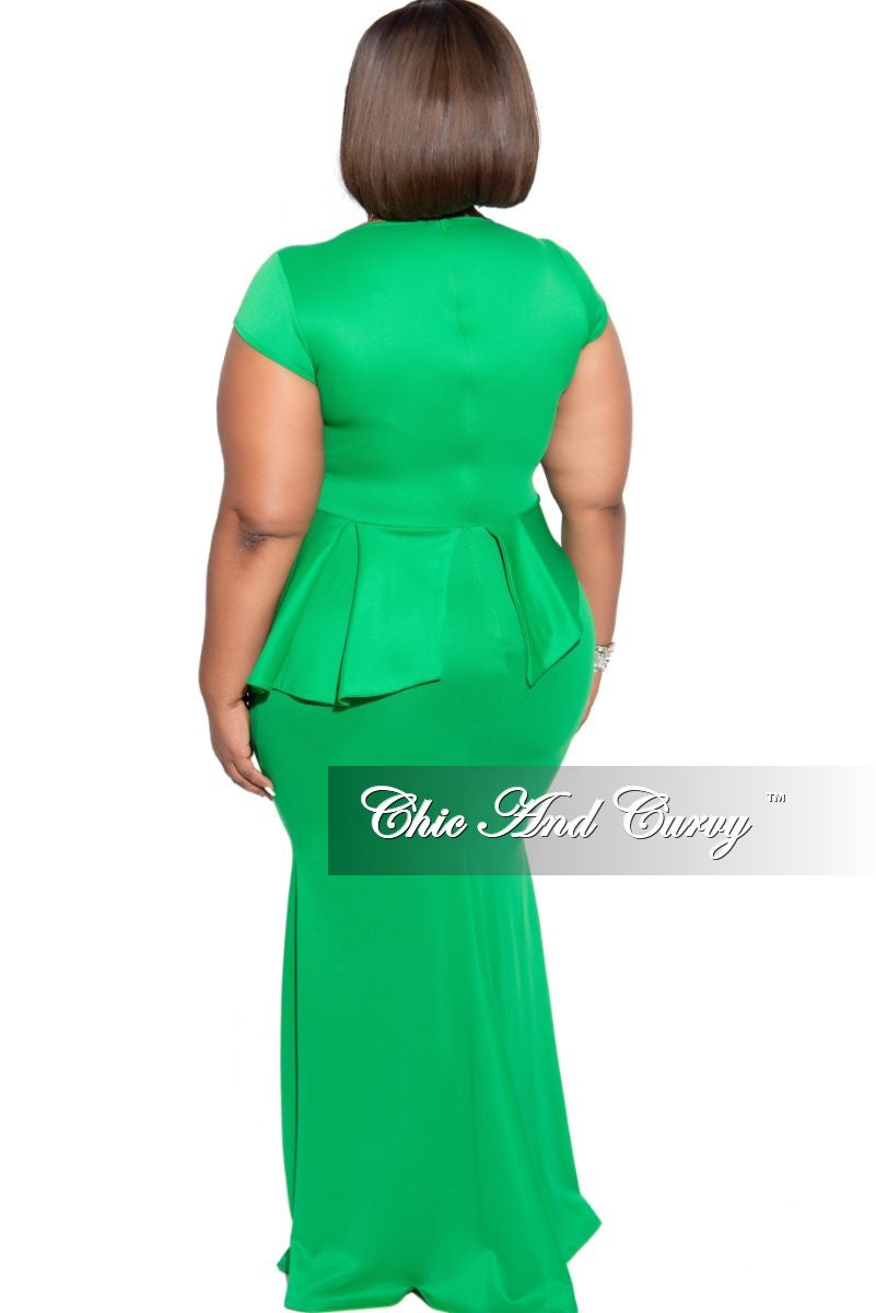 Final Sale Plus Size Cap Sleeve Gown with Asymmetrical Ruffle Peplum in Green Scuba