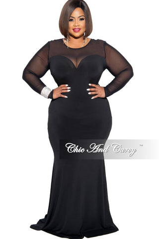 Final Sale Plus Sweetheart BodyCon Dress with Tulle Bottom in Black