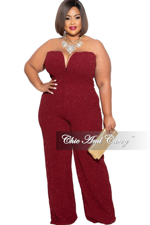 Final Sale Plus Size Glitter Sweetheart Jumpsuit in Burgundy