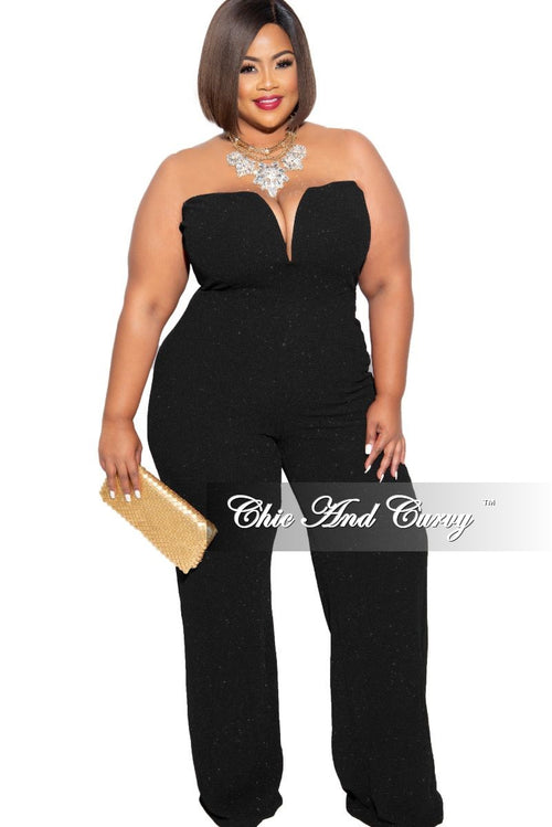 Final Sale Plus Size Glitter Sweetheart Jumpsuit in Black