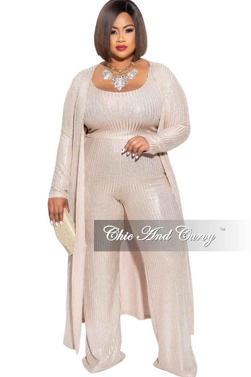 Final Sale Plus Size Ribbed 3-Piece Duster, Sleeveless Crop Top and Pants Set in Gold Foil
