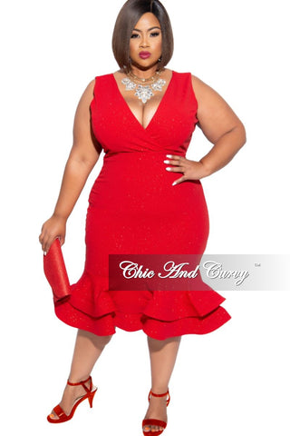 Final Sale Plus Size Long Sleeve Mermaid Gown in Red