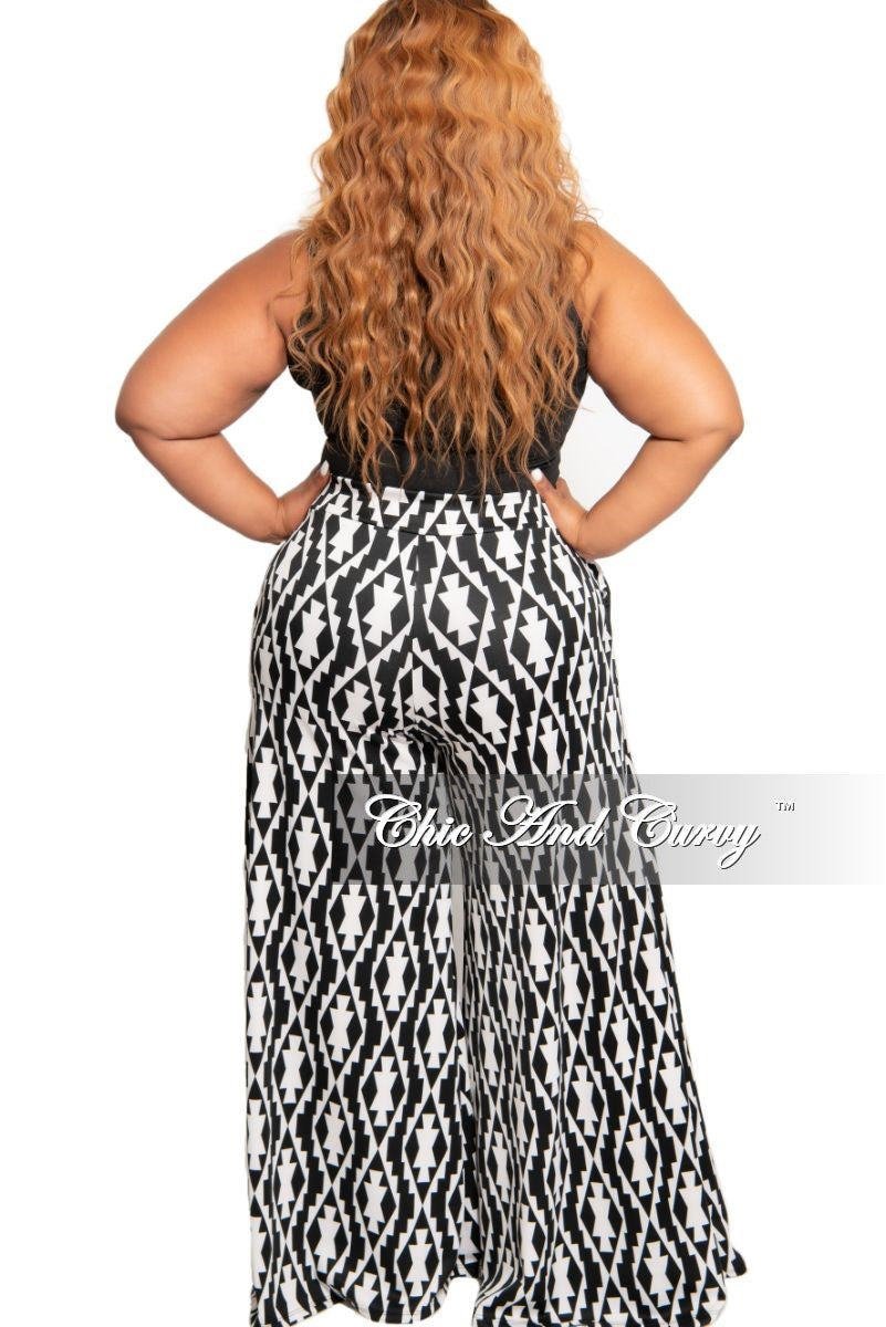 Final Sale Plus Size Palazzo Pants in White and Black Design Print