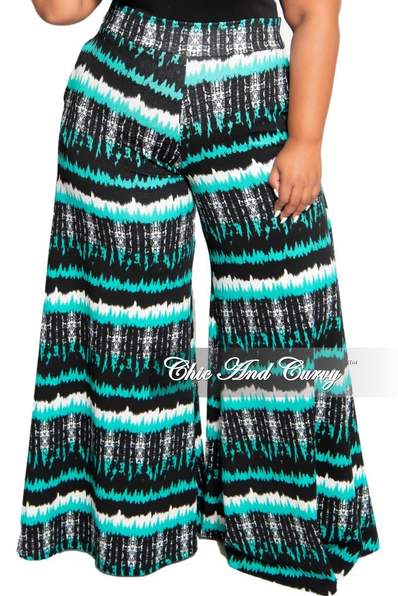 New Plus Size Palazzo Pants in Black White and Teal Zig-Zag Print