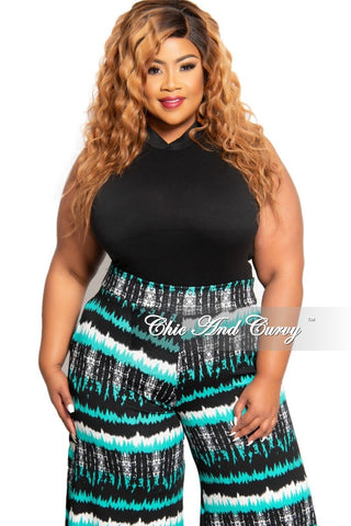 Final Sale Plus Size Long Sleeve Sheer Stripe Zip-Up Jumpsuit in Black