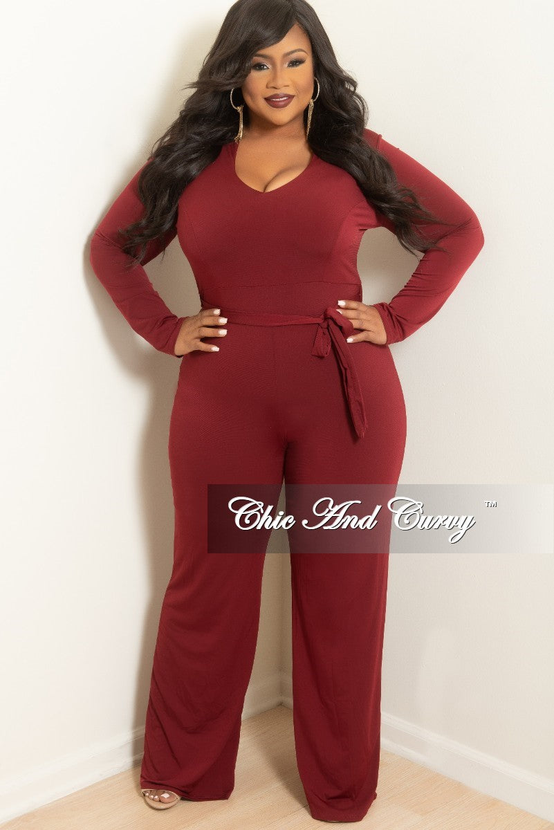 3ddf25da3a6 New Plus Size Jumpsuit with Attached Tie in Burgundy – Chic And Curvy
