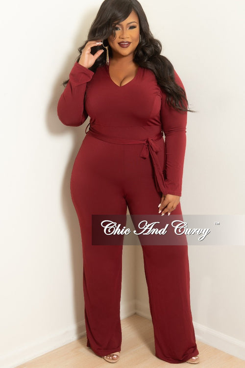 fc965384447 New Plus Size Jumpsuit with Attached Tie in Burgundy
