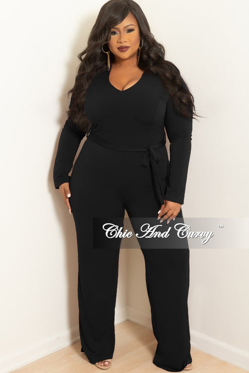 Final Sale Plus Size Jumpsuit with Attached Tie in Black