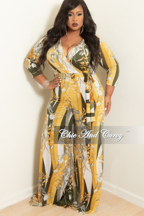 New Plus Size Faux Wrap Jumpsuit with Attached Tie and Zipper in Olive and Yellow Floral Print