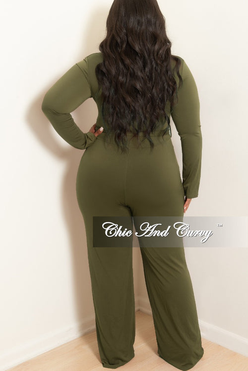 Final Sale Plus Size Jumpsuit with Attached Tie in Olive