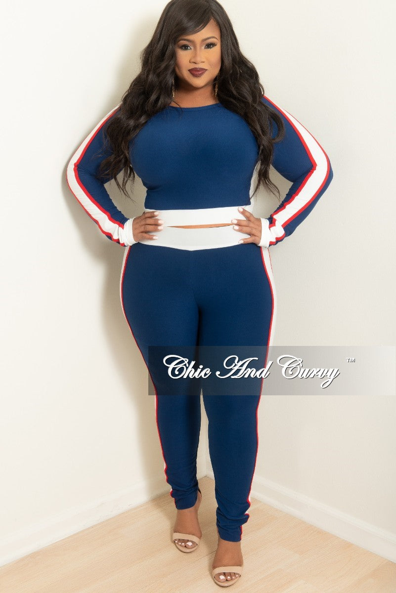 Final Sale Plus Size Crop Top and Pants Set in Navy with Red and White Trim