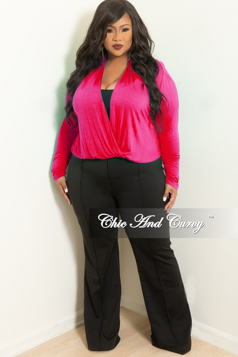 New Plus Size Long Sleeve Top w/ Twist Front in Fuchsia