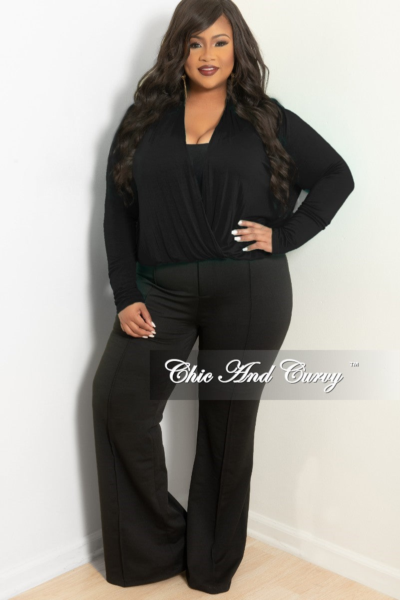 fa77d5fbb9a29c New Plus Size Long Sleeve Top w/ Twist Front in Black – Chic And Curvy