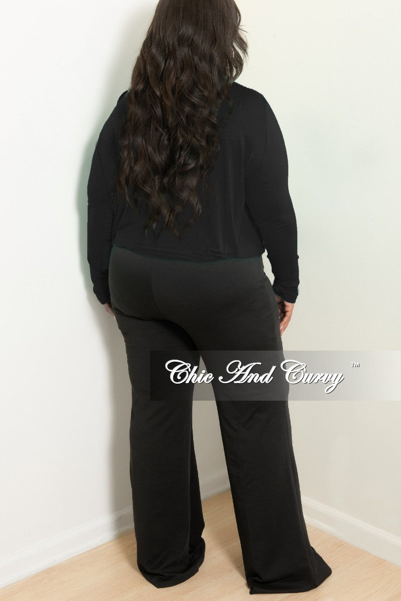New Plus Size Long Sleeve Top w/ Twist Front in Black