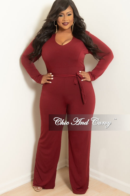 New Plus Size Jumpsuit with Attached Tie in Burgundy