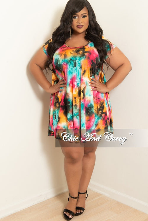 Final Sale Plus Size Short Sleeve Rainbow Floral Tunic Babydoll Swing Dress