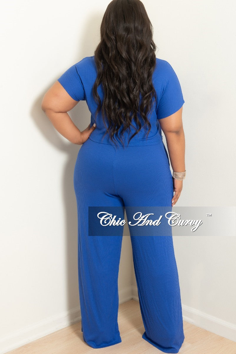 New Plus Size 2-Piece Ribbed Top and Pants Set in Royal Blue