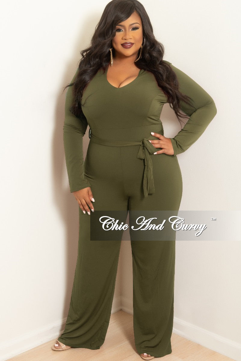 69626c1aac1 New Plus Size Jumpsuit with Attached Tie in Olive – Chic And Curvy