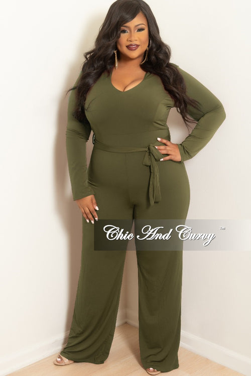 New Plus Size Jumpsuit with Attached Tie in Olive