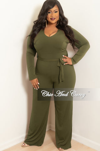 Final Sale Plus Size Faux Wrap Velour Jumpsuit with Attached Tie in Black