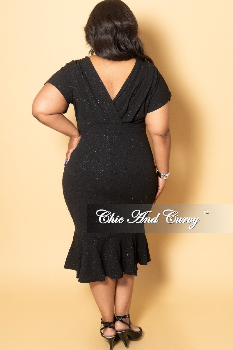 Final Sale Plus Size Faux Wrap Glitter BodyCon Dress with Ruffle Bottom in Black