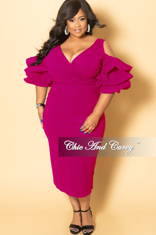 New Plus Size Faux Wrap Cold Shoulder BodyCon Dress with Ruffle Sleeves and Back Slit in Magenta